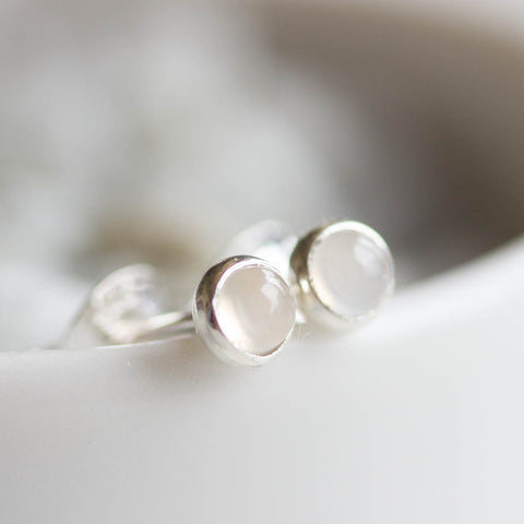 White Topaz stud earrings, sterling silver or 14K gold filled, dainty earrings