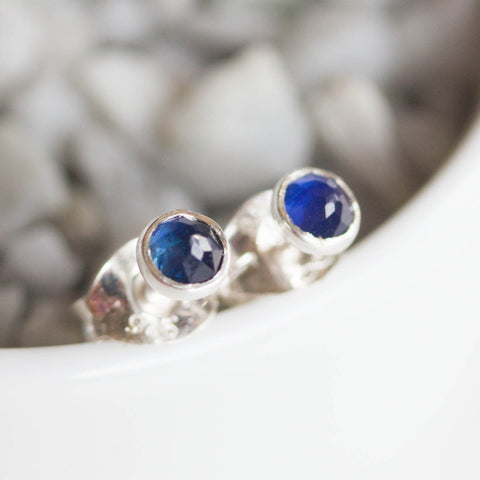 Sapphire stud earrings, sterling silver or 14k gold filled, September Birthstone