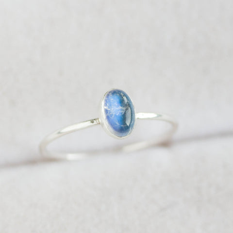 Oval Rainbow Moonstone ring - skinny stackable ring with Rainbow moonstone, sterling silver, 9k gold