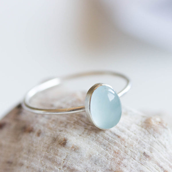 Oval Aquamarine ring - skinny stackable ring with Rainbow moonstone, sterling silver, 9k gold