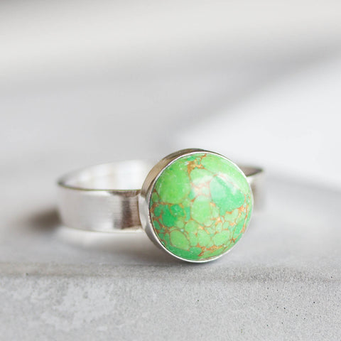 Green - Sterling silver ring with green turquoise cabochon