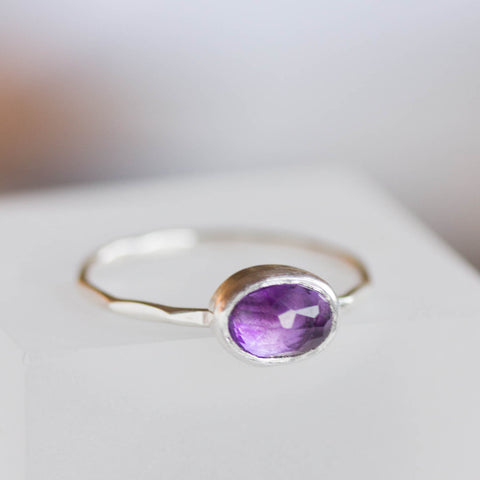 Oval Amethyst ring - skinny stackable ring with rose cut Amethyst stone