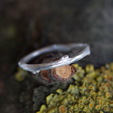 Twig ring - fine silver branch ring, Nature inspired