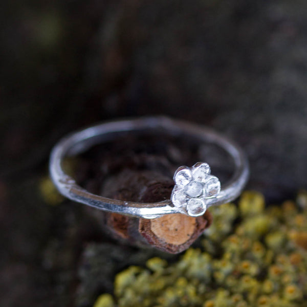 Twig ring with a tiny flower - fine silver branch ring with a tiny Cubic Zirconia set in a flower, Nature inspired