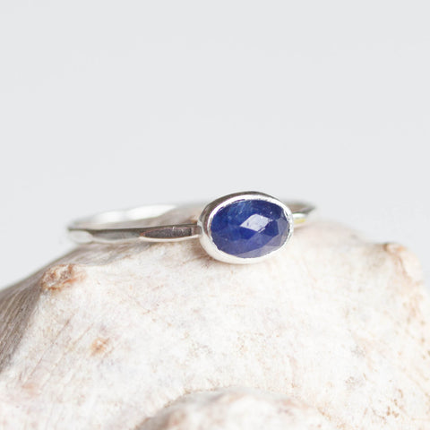 Oval Sapphire ring - skinny stackable ring with rose cut Sapphire stone, September birthstone