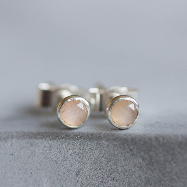 Peach moonstone stud earrings, minimalist dainty studs, sterling silve or 14k gold filled
