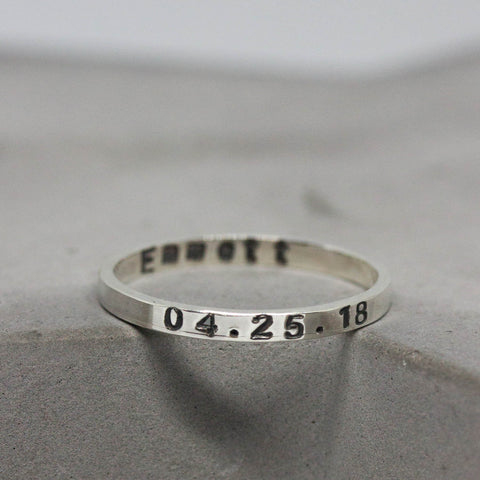 Silver band ring personalized inside and outside, 2mm, 3mm or 4mm wide band