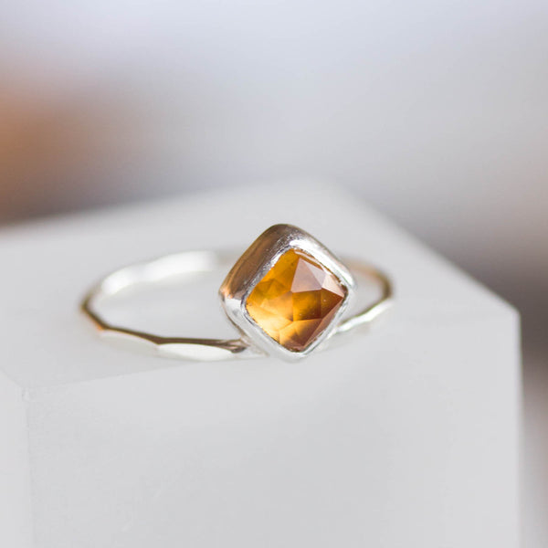 Citrine ring - stackable ring with square Citrine stone