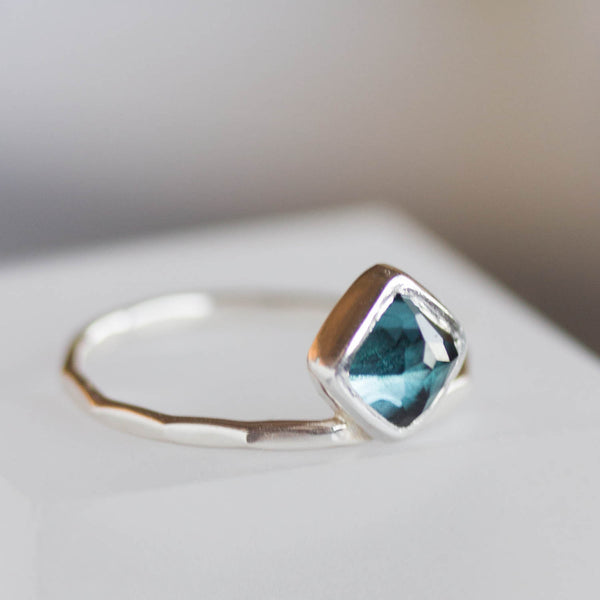 London blue Topaz ring - stackable ring with square London blue Topaz stone