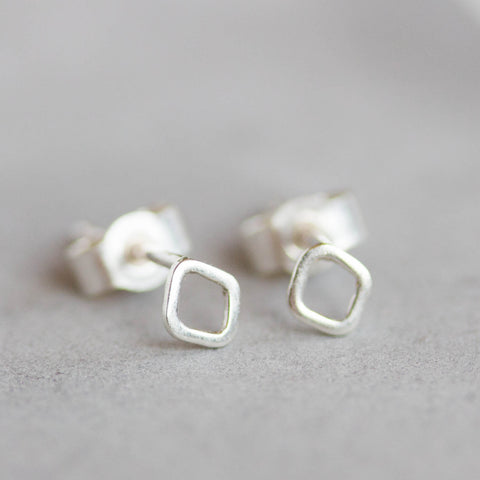 Tiny rhombus studs - minimal stud earrings, simple every day studs in sterling silver or 9k gold