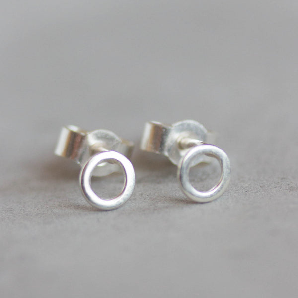 Tiny circle studs - minimal stud earrings, simple every day studs in sterling silver or 9k gold