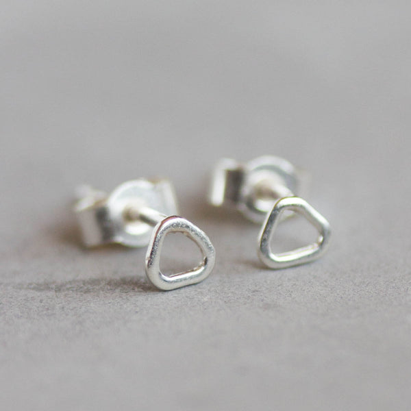 Tiny triangle studs - minimal stud earrings, simple every day studs in sterling silver or 9k gold