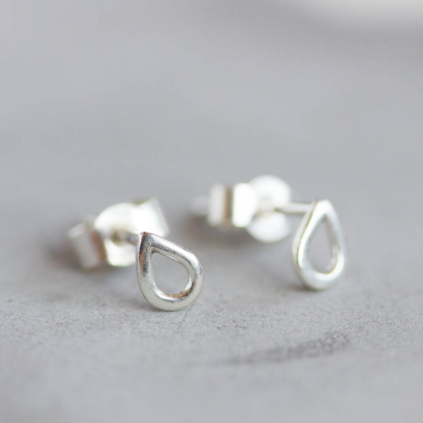 Tiny drop studs - minimal stud earrings, simple every day studs in sterling silver or 9k gold