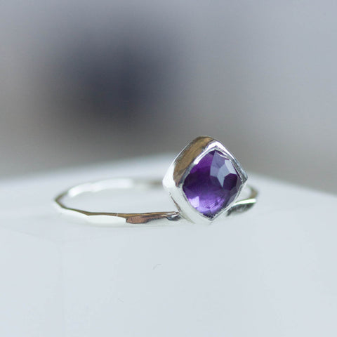 Amethyst ring - stackable ring with square Amethyst stone, February birthstone, sterling silver, 9k gold