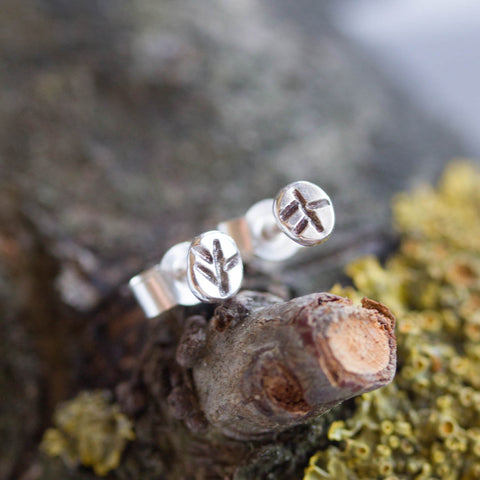 Tiny leaves - stud earrings, primitive leaf impression, simple every day studs in sterling silver or 9k gold