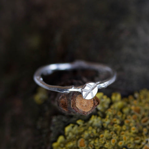 Twig ring with a tiny leaf - fine silver branch ring, Nature inspired