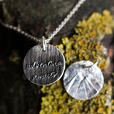 Adventure avaits - inspirational necklace, double sided necklace, mountain texture