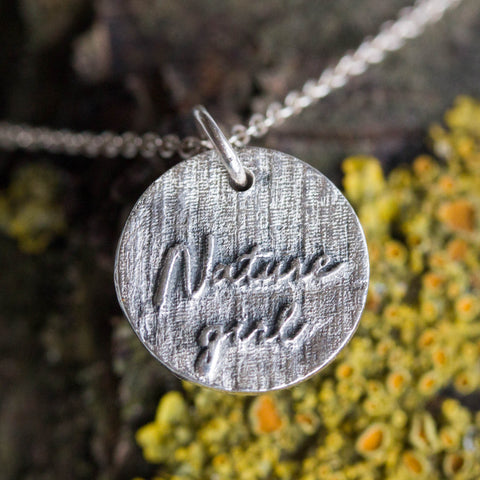 Nature girl - inspirational necklace, double sided necklace, mountain texture