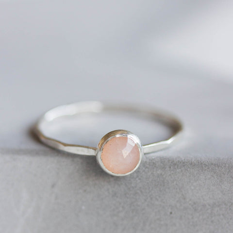Peach moonstone ring - skinny stackable ring with Peach moonstone faceted gemstone, sterling silver, 9k gold