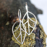 Leaf earrings, primitive wire leaves, sterling silver or 9k gold