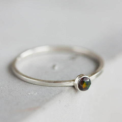 Black Opal - skinny stackable ring with rose cut black opal stone, October birthstone