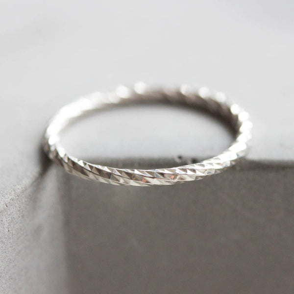 White Faceted Twist - sterling silver stackable ring