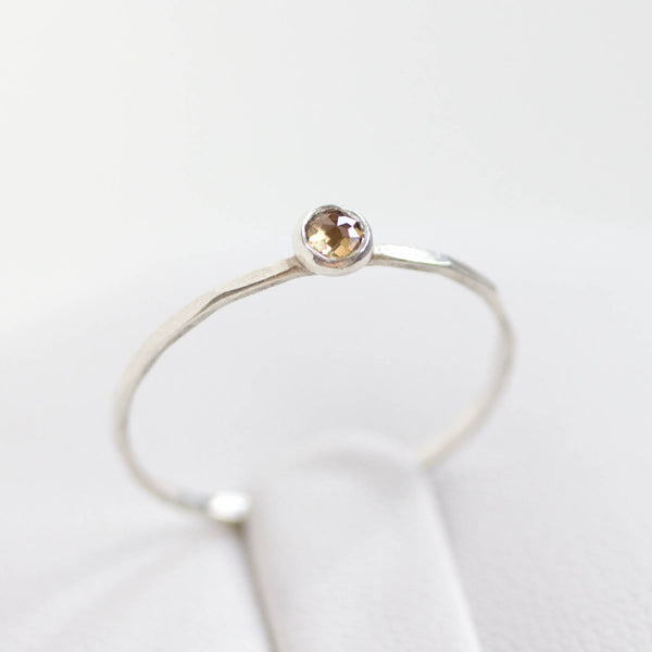 Champagne (brown) Diamond - stackable ring with 3mm rose cut diamond, sterling silver or 9K gold, April birthstone