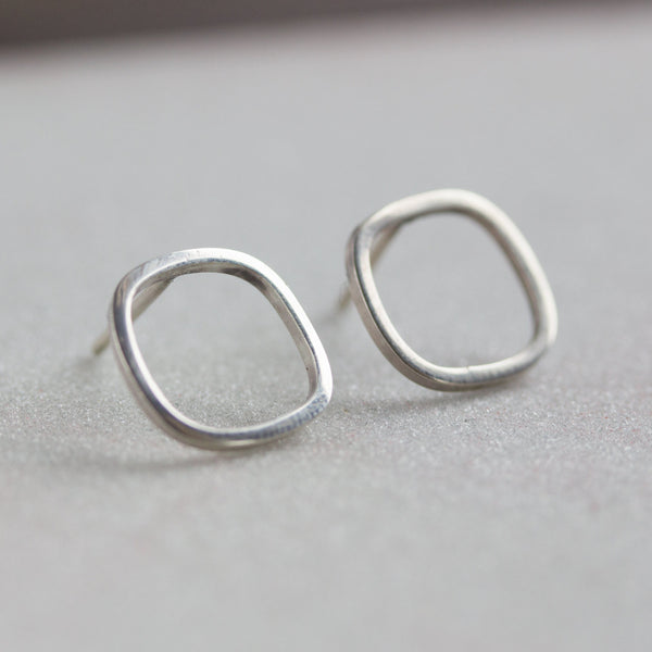 Square sterling silver stud earrings