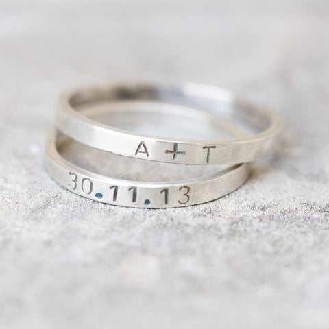 Fine silver stacking ring with stamped word - personalized