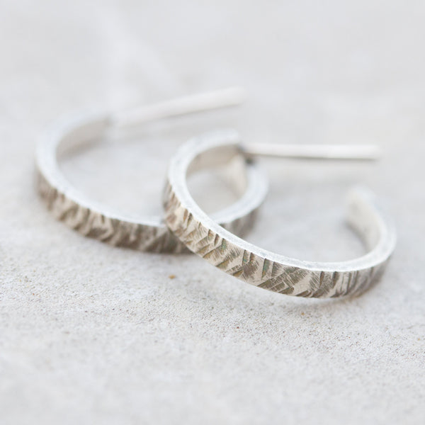 Open hoop earrings, Oxidized sterling silver stud earrings