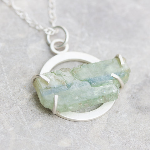 Silver necklace with rough kyanite - modern, minimalist