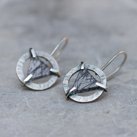Modern earrings - sterling silver and Quartz Crystal