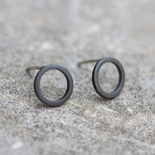 Black circle sterling silver stud earrings - minimalist, every day earrings
