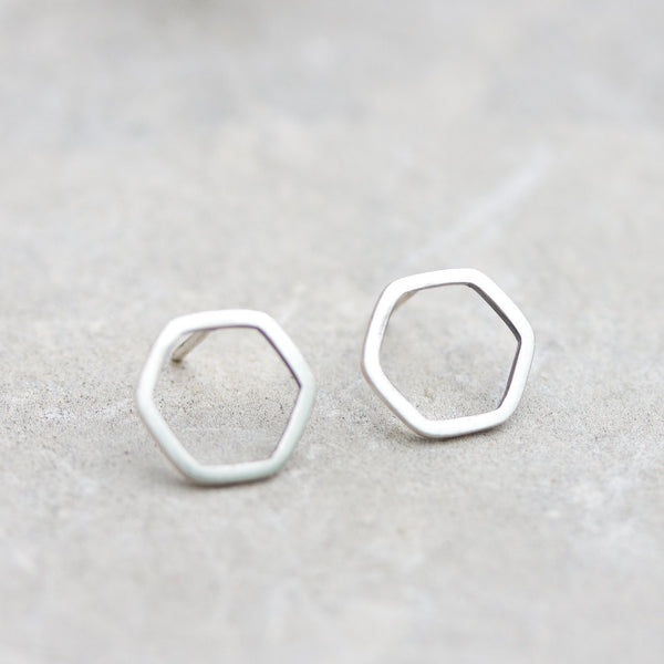 Hexagon studs - sterling silver stud earrings