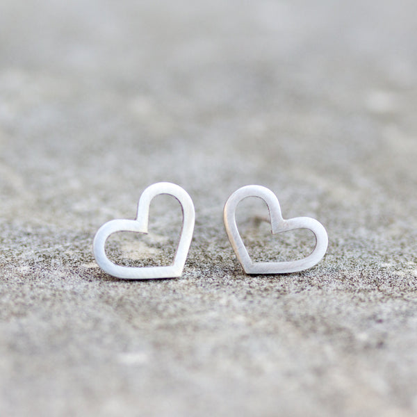 Sterling silver stud earrings - heart shaped, every day earrings