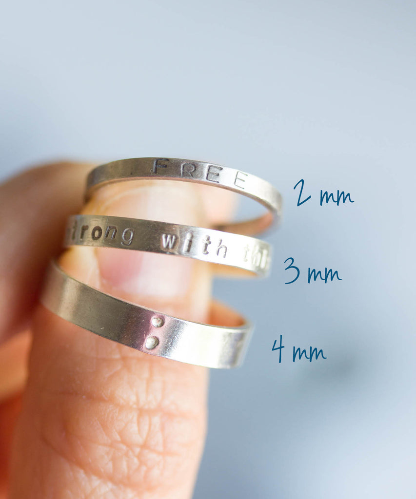 a1cf188f0b Silver band ring with stamped word, personalized, 2mm, 3mm or 4mm wide –  natalkapavlysh