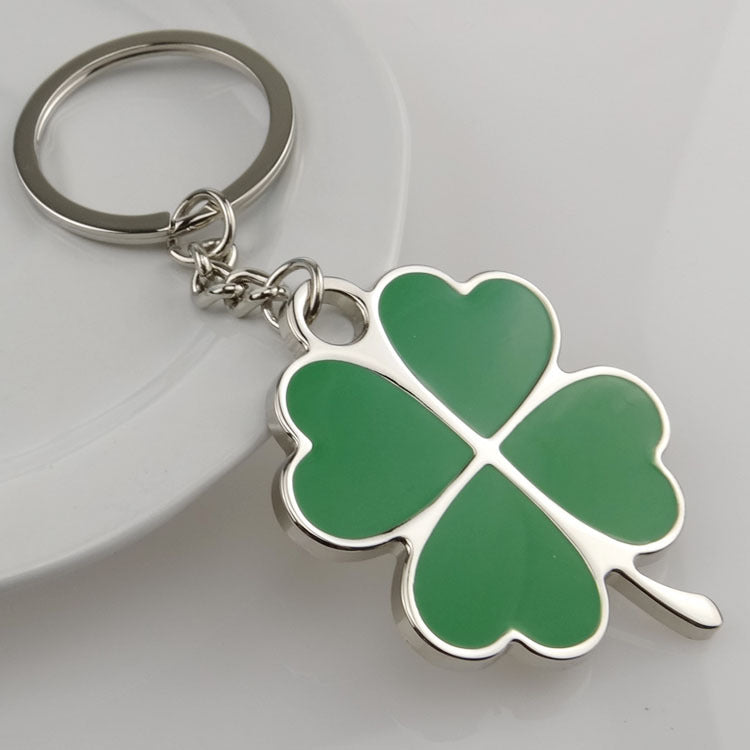 Green Four Leaf Clover Stainless Steel Lucky Keyring - Nice & Cool