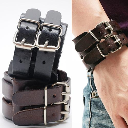 Double Buckle Genuine Leather Wristband Men's Bracelet - Nice & Cool