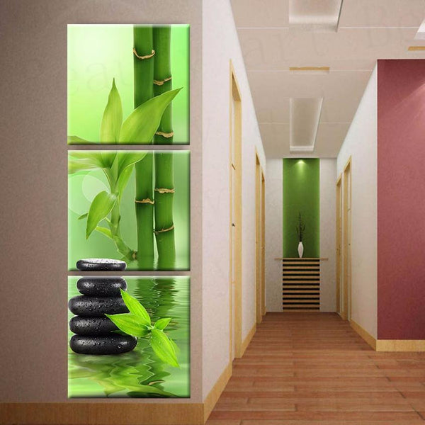 Home Stones Decoration: Bamboo, Stones & Water Wall Art Modular Canvas