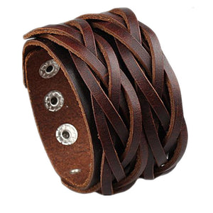 Double Belt Braided Genuine Leather Wristband Men's Bracelet - Nice & Cool