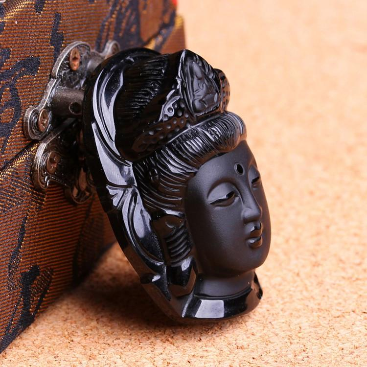 Carved Black Obsidian Buddha Pendant - Nice & Cool