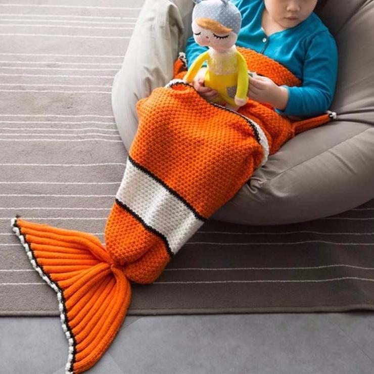 Fish Tail Knitted Blanket for Kids - Nice & Cool