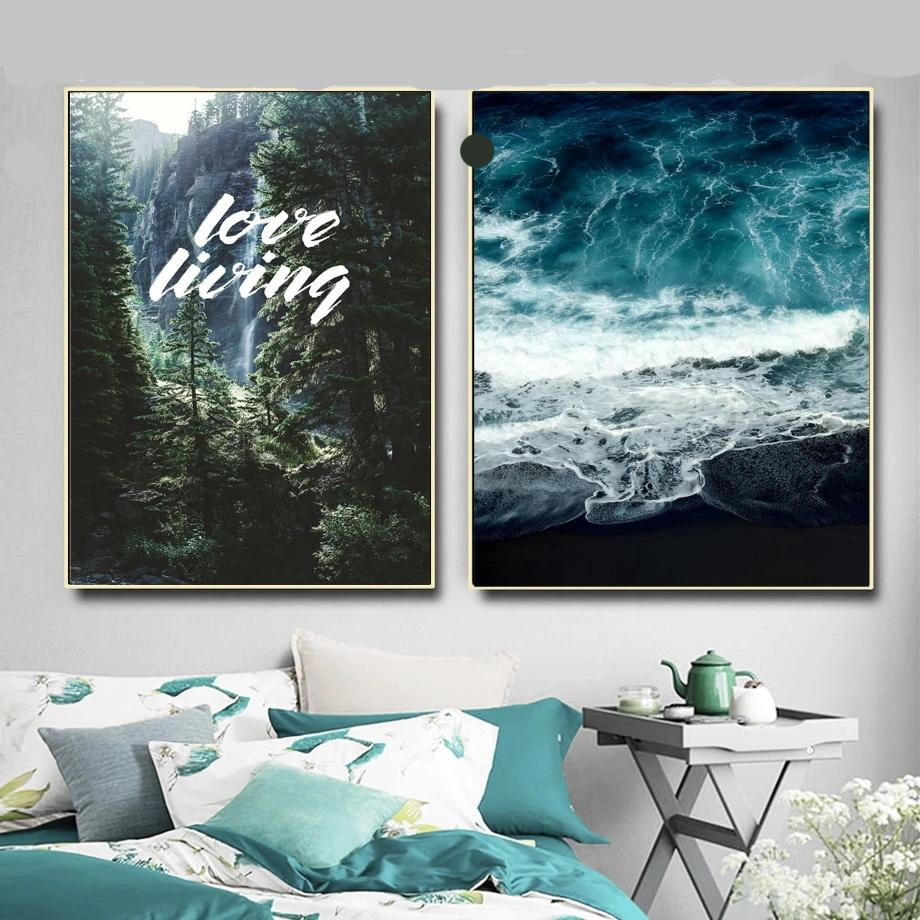 Forest Blue Ocean Quote Landscape Wall Art Canvas - Nice & Cool