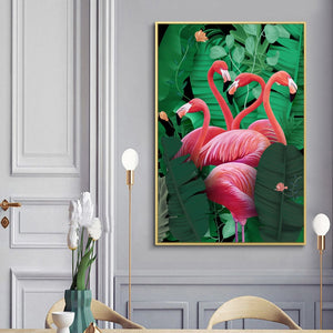 Red Flamingo On Green Palm Leaves Wall Art Canvas - Nice & Cool
