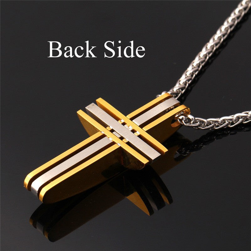 Stainless Steel Two-Tone Cross Men's Pendant Necklace - Nice & Cool
