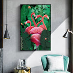 Red Flamingo On Green Palm Leaves Wall Art Canvas