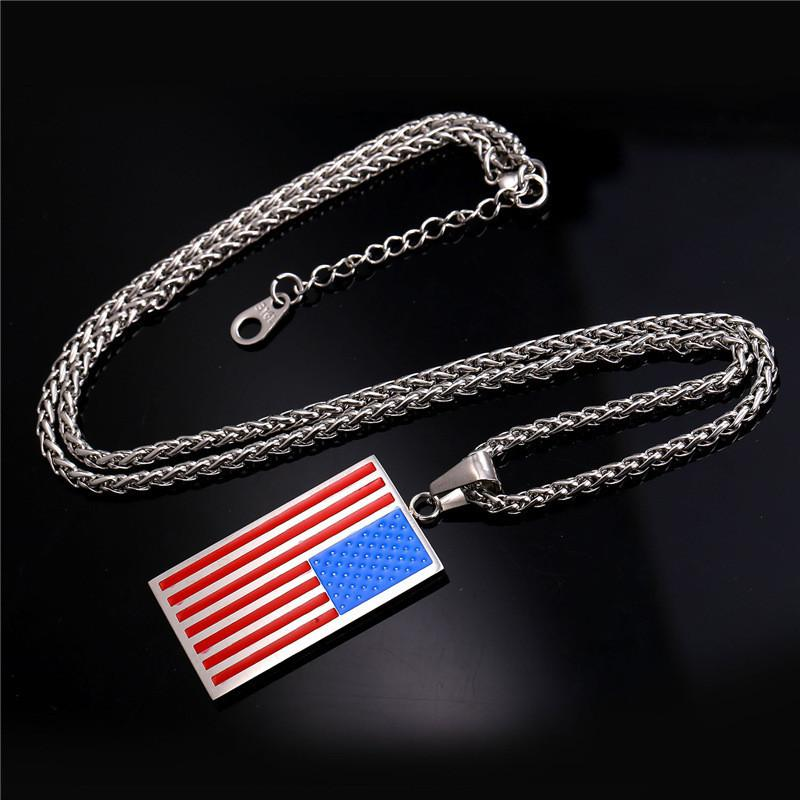 stainless usa flag necklaces steel pendant mens men jewelry necklace jewellery lot collier extend chain fashion american product