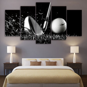 Golf Still Life Black and White Wall Art Canvas - 5 pcs - Nice & Cool
