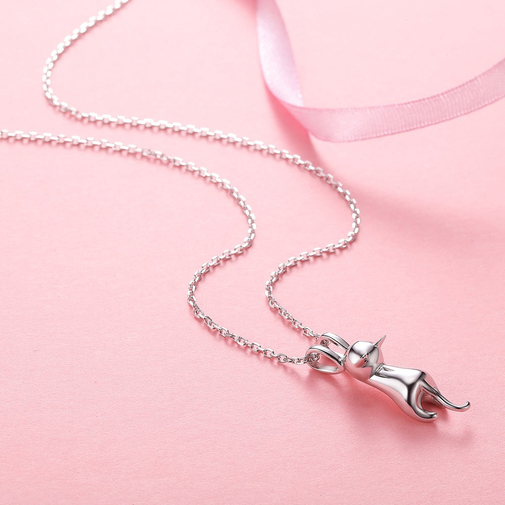 Lovely Hanging Cat Silver Necklace - Nice & Cool