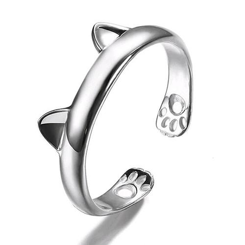 Cute Cat Ears and Paws Silver Ring - Nice & Cool
